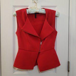 BCBGMaxAzria Red Tuxedo Shirt Zip Up Lapel Peplum